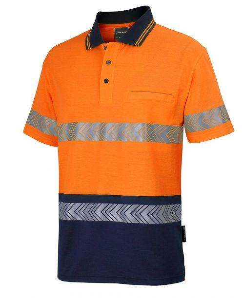 HI VIS (D+N) COTTON BACK S/S SEGMENTED TAPE POLO (6HMSS)
